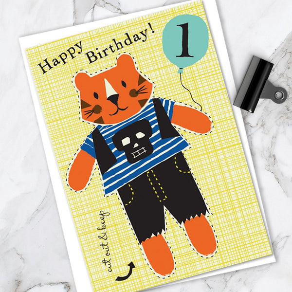 Little Dolly Wotsit - Children's Birthday Card 'Age 1' Cute Tiger Design - Cut Out Activity - A Lovely Little Keepsake!