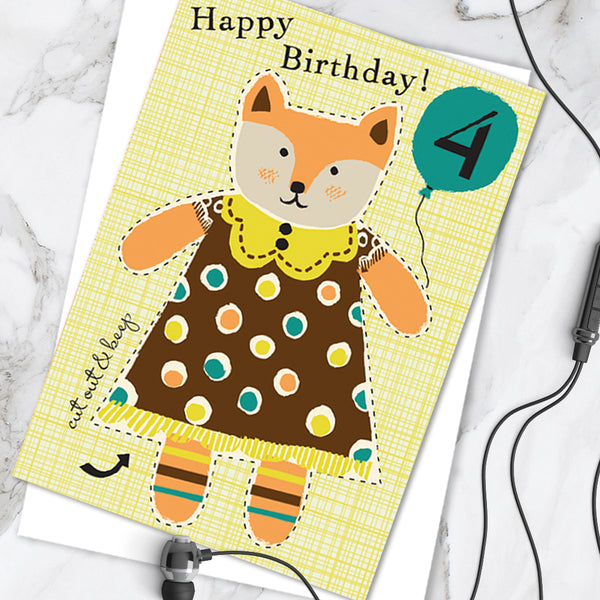 Little Dolly Wotsit - Children's Birthday Card 'Age 4' Cute Fox Design - Cut Out Activity - A Lovely Little Keepsake! (Pack of 6)