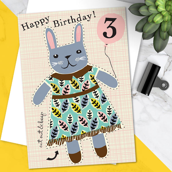 Little Dolly Wotsit - Children's Birthday Card 'Age 3' Cute Bunny Rabbit Design - Cut Out Activity - A Lovely Little Keepsake!
