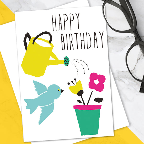 Bright Colourful Cute Floral 'Happy Birthday' Greetings Card (Pack of 6)