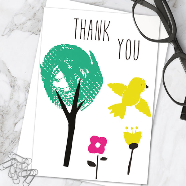 Bright Colourful Cute 'Thank You' Greetings Card (Pack of 6)