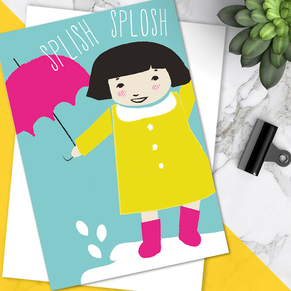 Bright Colourful Cute 'Splish Splosh' Children's Birthday Greetings Card (Pack of 6)