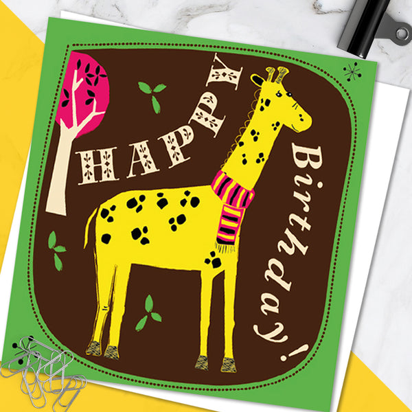 Bright Colourful Children's 'Birthday' Greetings Card Cute Giraffe Design (Pack of 6)