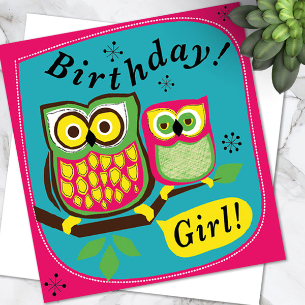 Bright Colourful Children's 'Birthday' Greetings Card Cute Owl Design - For Girls (Pack of 6)
