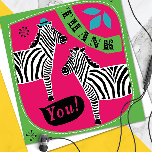 Bright Colourful Children's 'Thank You' Greetings Card Cute Zebra Design (Pack of 6)