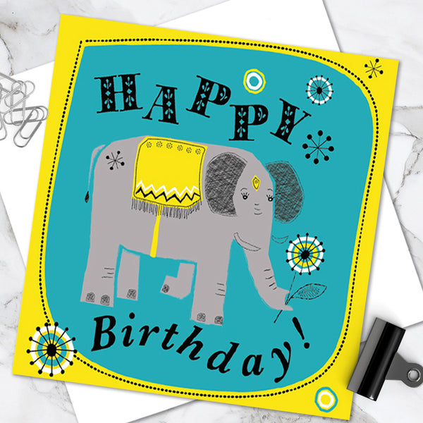 Bright Colourful Children's 'Birthday' Greetings Card Cute Elephant Design (Pack of 6)