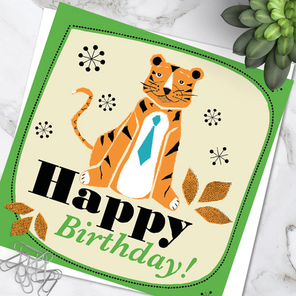 Bright Colourful Children's 'Birthday' Greetings Card Cute Tiger Design (Pack of 6)