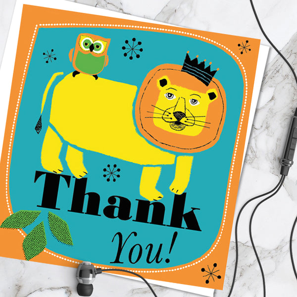 Bright Colourful Children's 'Thank You!' Greetings Card Cute Lion Owl Design (Pack of 6)