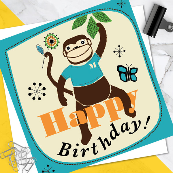 Bright Colourful Children's 'Birthday' Greetings Card Cute Cheeky Monkey Design