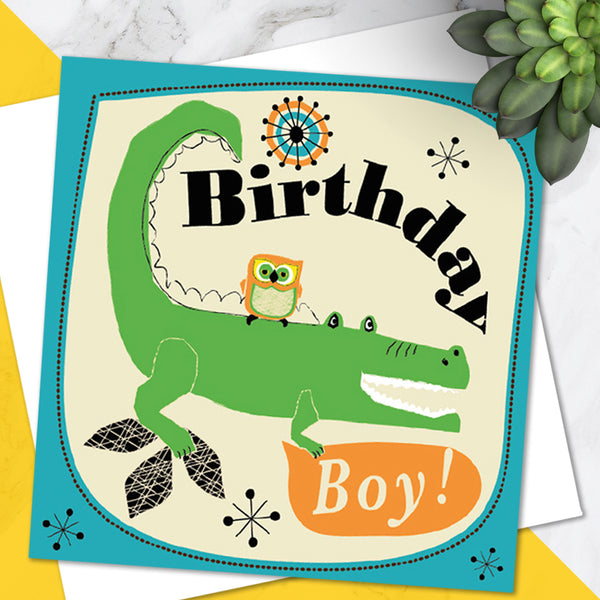 Bright Colourful Children's 'Birthday' Greetings Card Cute Crocodile Owl Design - For Boys
