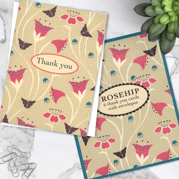 Pack Of 6 Beautifully Boxed Mini Floral Design Thank you Notecards With Envelopes - 1 Design - Blank Inside For Various Occasions (Pack of 6)