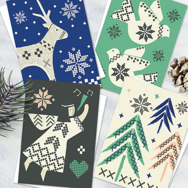 Pack Of 12 Pretty Knit Christmas Design Notecards With Envelopes - 4 Design - Blank Inside - Unboxed
