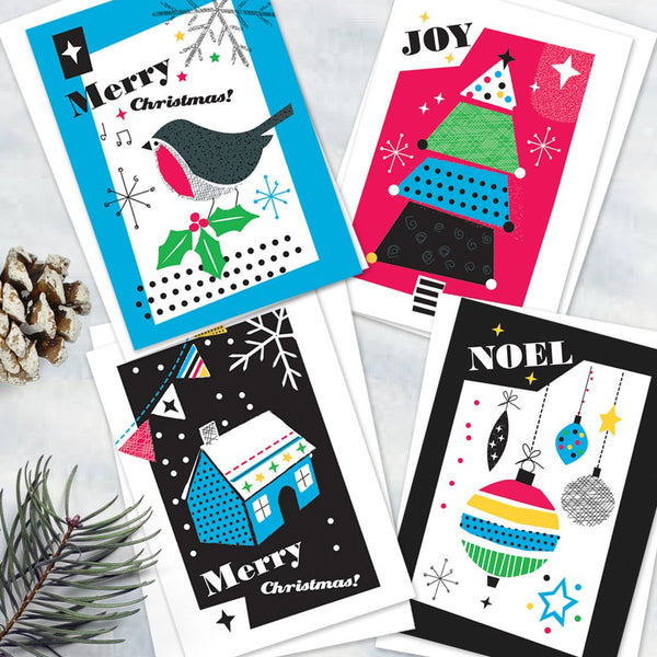 Pack Of 12 Pretty Colourful Christmas Design Notecards With Envelopes - 4 Design - Blank Inside - Unboxed