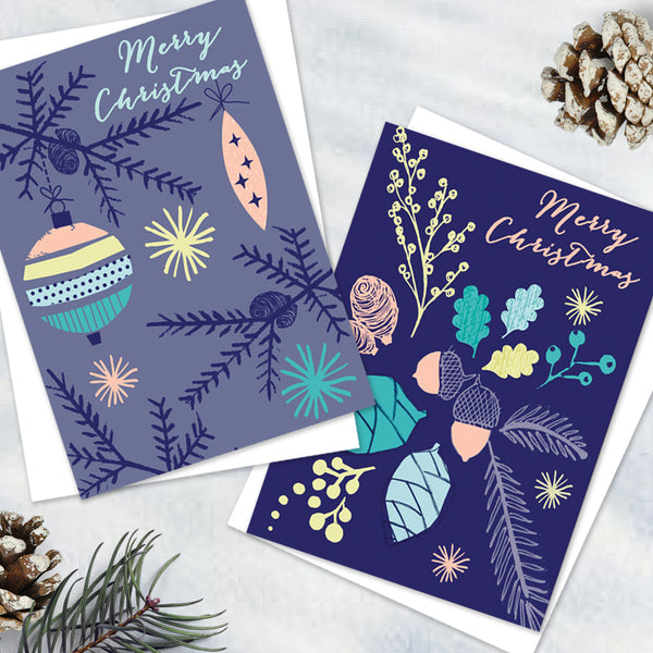 Pack Of 12 Pretty Alpine Blue Christmas Design Notecards With Envelopes - 2 Design - Blank Inside - Unboxed