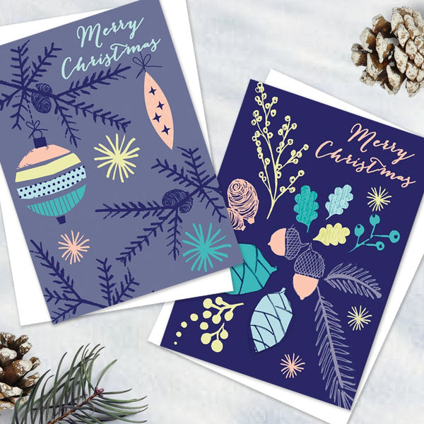 Pack Of 6 Pretty Alpine Blue Christmas Design Notecards With Envelopes - 2 Design - Blank Inside - Unboxed