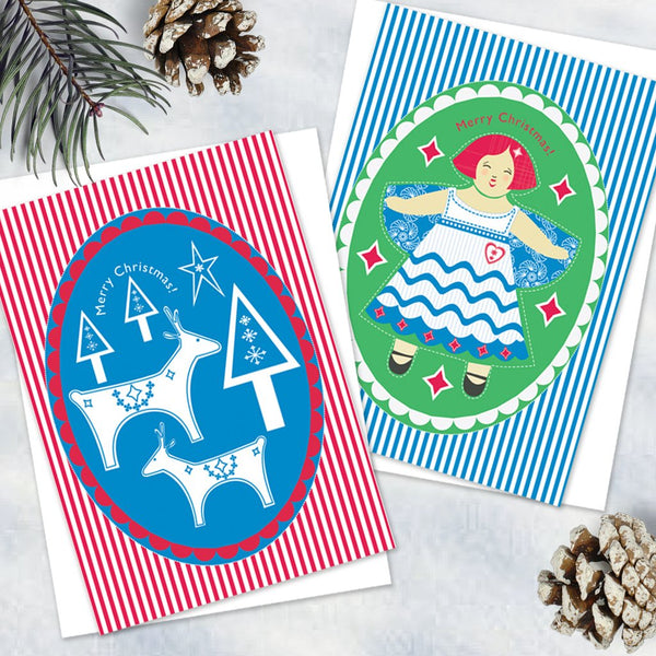 Pack Of 6 Pretty Colourful Christmas Design Notecards With Envelopes - 2 Design - Blank Inside - Unboxed
