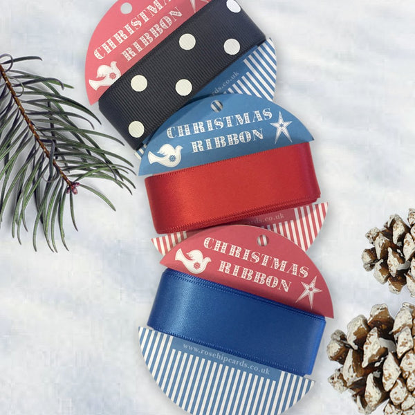 Pack Of 3 Red, Blue & black Spotty Christmas Ribbon