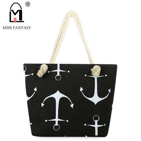 Anchors Away Beach Bag for Sale-black