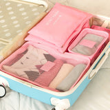 6 piece packing cube set for sale-pink