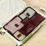 6 piece packing cube set for sale-burgundy