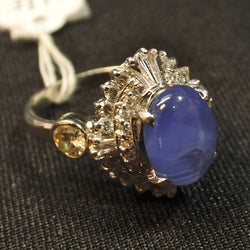 900 Platinum Star Sapphire Ring With Diamonds (Chinatown)