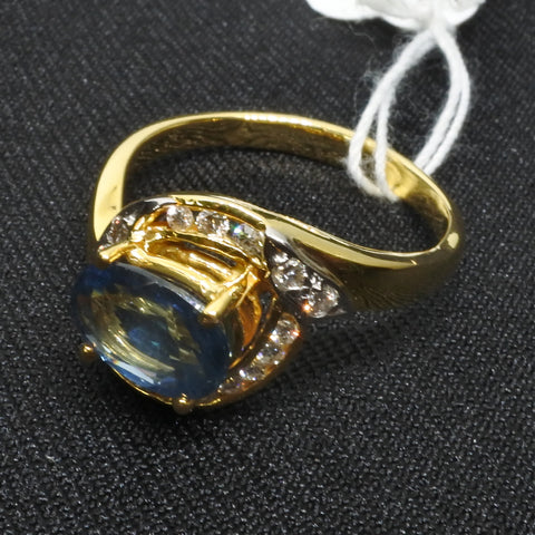 850 Yellow Gold Blue Sapphire Diamond Ring (Toa Payoh)