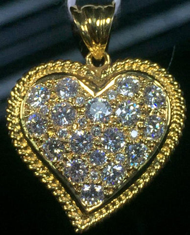 20K YELLOW GOLD HEART PENDANT WITH DIAMONDS