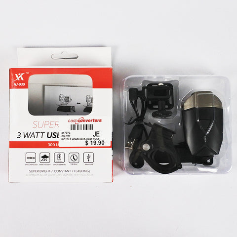 BICYCLE HEADLIGHT - 3WATT/USB (Selected Stores)