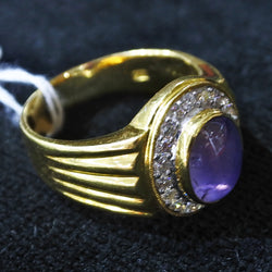 20K Yellow Gold Star Sapphire RIng With DIamonds (Kallang Bahru)