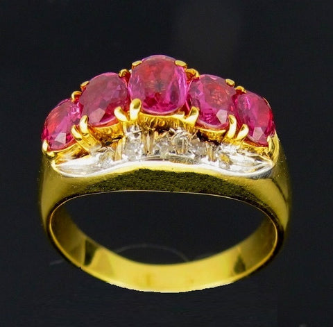 ONLY AVAILABLE OFFLINE - Pink Sapphire Diamond Embellished 14k Gold Ring.
