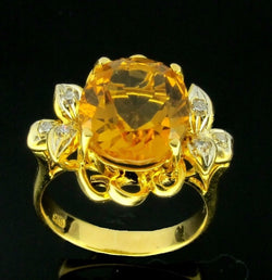 ONLY AVAILABLE OFFLINE - Yellow Gold Citrine Diamond on 22K Gold Ring