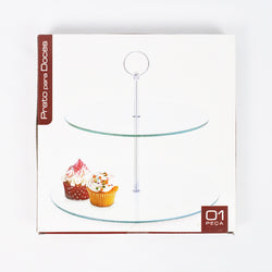 2 TIER TEMPERED GLASS SERVING TRAY (Selected Stores)