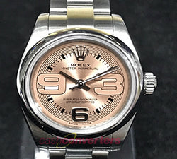 Stainless Steel Rolex Watch With Salmon Pink Arabic Dial (176200) - (Kallang Bahru)