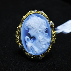 18K Yellow Gold Cameo Ring With Diamonds (Jurong)