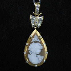 18K Yellow Gold Cameo Pendant With Diamonds (Jurong)