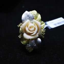 Pewter 900 K18 Chalcedony Flower Ring (Jurong)