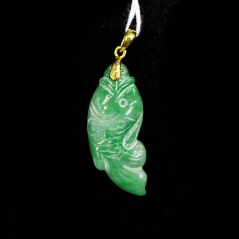 916 Yellow Gold Jade Fish Pendant (Jurong)