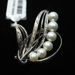 14K White Gold Brooch With Pearls (Chinatown)