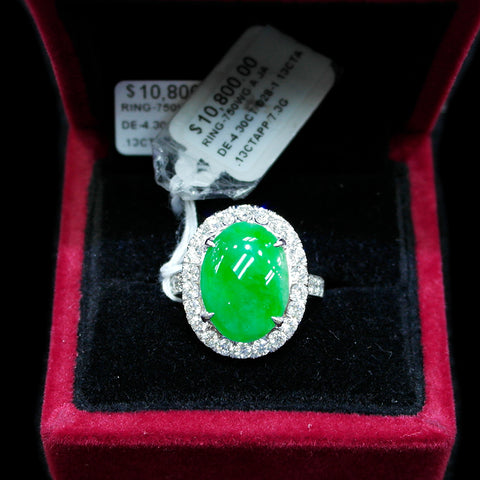 750 White Gold A Jade with Diamonds Ring (Jurong)