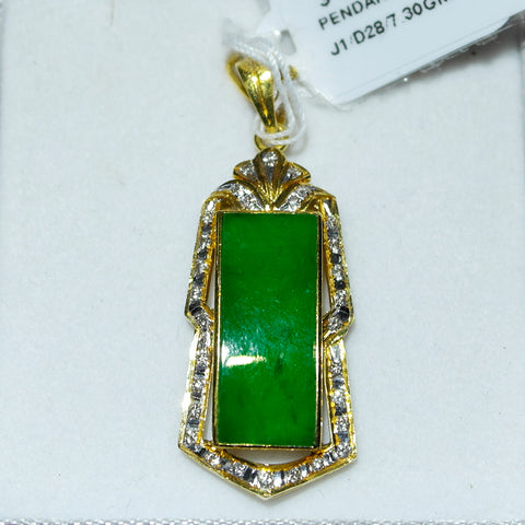 850 Yellow Gold Jade with Diamonds Pendant (Toa Payoh)
