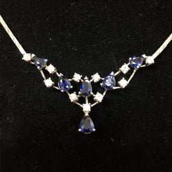 Blue Sapphire White Gold Necklace with Diamonds (Toa Payoh)
