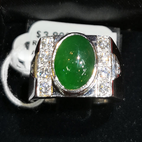 750 White Gold A Jade with Diamonds Ring with Cert (Chinatown)