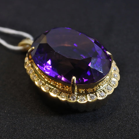18K Yellow Gold Amethyst Pendant With Diamonds (Tampines)