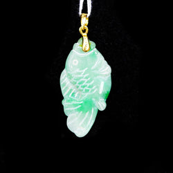 916 Yellow Gold Jade Fish Pendant 2 (Jurong)