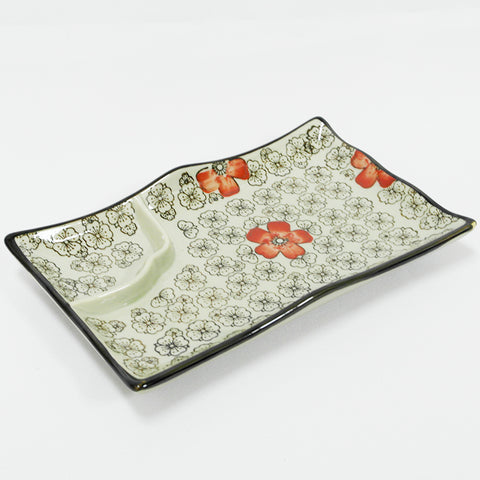 Floral Design Grey Sushi Tray With Divider (Chinatown)