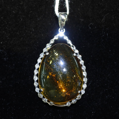 18K White Gold Amber With Diamonds Pendant (Tampines)