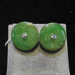 750 White Gold A Jade Earrings With Diamonds (Tampines)