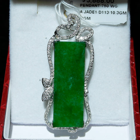750 White Gold A Jade with Diamonds Pendant (Toa Payoh)