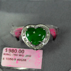 750 White Gold Jade with Diamonds Ring (Jurong)