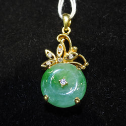 916 Yellow Gold Jade With Diamonds Pendant (Tampines)